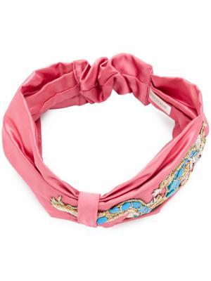 Тюрбан с украшением в виде дракона Jennifer Behr. Цвет: розовый и фиолетовый