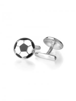 Запонки Футбольный мяч KU&KU. Цвет: серебристый