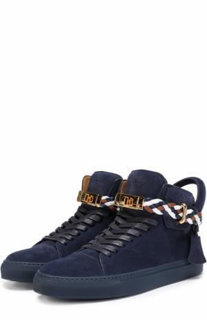 Высокие замшевые кеды на шнуровке с декоративной отделкой Buscemi. Цвет: синий
