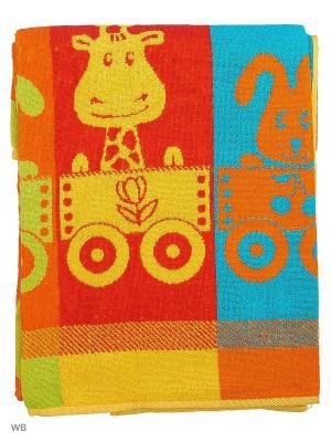 Полотенце махровое пестротканое жаккардовое Детка Авангард. Цвет: красный, желтый