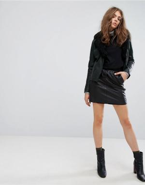 Goosecraft Кожаная юбка. Цвет: черный