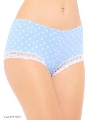 Трусы-шорты из хлопка с отделкой кружевом VIVALIA. Цвет: голубой
