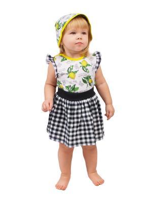 Топ, юбка, косынка Апрель. Цвет: желтый, темно-синий
