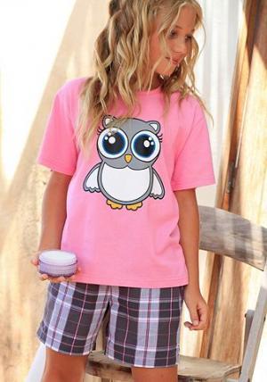 Короткая пижама, Petite Fleur KIDS. Цвет: розовый в клетку