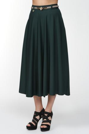Юбка с поясом GU&MU. Цвет: темно-зеленый