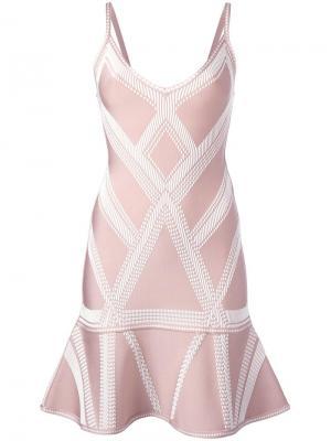 Жаккардовое платье с заниженной талией Hervé Léger. Цвет: розовый и фиолетовый