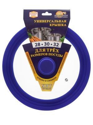 Крышка универсальная стекло/силикон синяя 28-30-32 см Borner. Цвет: синий