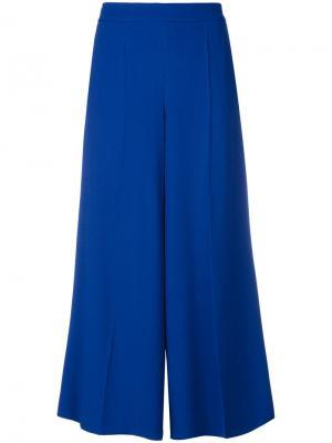 Укороченные широкие брюки Salvatore Ferragamo. Цвет: синий
