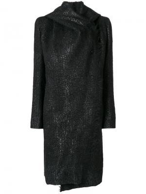 Пушистое пальто с капюшоном Masnada. Цвет: чёрный