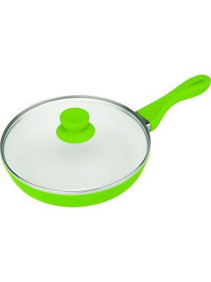 Сковорода с крышкой со съемной ручкой. Диаметр 26см. BOHMANN. Цвет: зеленый