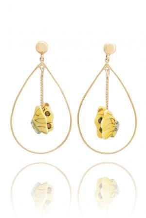 Серьги 125103 Nach Jewellery. Цвет: желтый