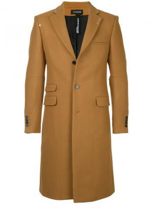 Классическое пальто Icosae. Цвет: коричневый