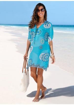 Пляжное платье. Цвет: бирюзовый с рисунком