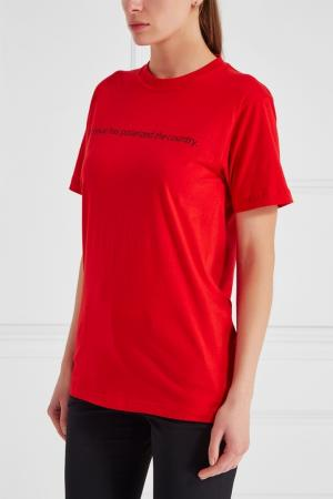 Хлопковая футболка красная SUBTERRANEI. Цвет: красный