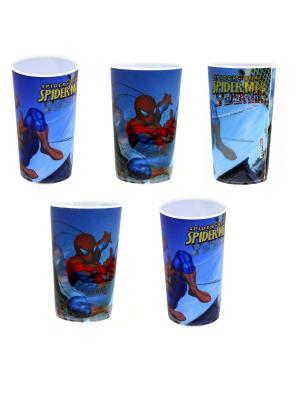 Набор пластиковых стаканов Spider-Man (5 по 400 мл). Цвет: синий, красный