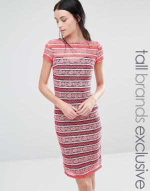 Paper Dolls Tall Кружевное платье в полоску с короткими рукавами. Цвет: розовый