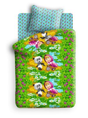 Комплект постельного белья Маша и медведь. Цвет: зеленый, бирюзовый, фиолетовый