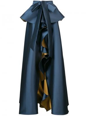 Атласная бальная юбка Johar Sachin & Babi. Цвет: синий