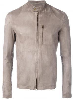Кожаная куртка на молнии Salvatore Santoro. Цвет: серый