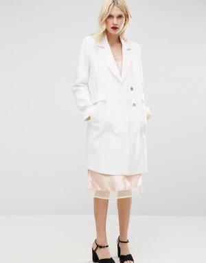 ASOS Креповое узкое пальто с карманами. Цвет: белый