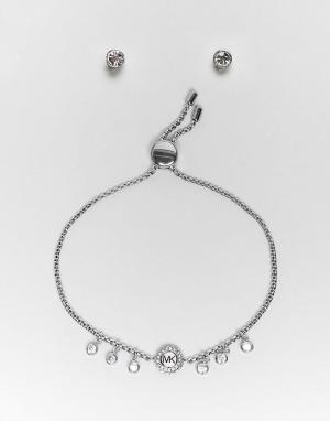 Michael Kors Подарочный набор с серебристыми серьгами и браслетом. Цвет: серебряный