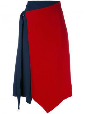 Асимметричная креповая юбка Versace. Цвет: синий