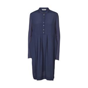 Платье объемного кроя с длинными рукавами и рубашечным воротником AND LESS. Цвет: синий морской