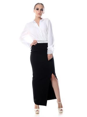 Юбка из черной костюмной ткани стрейч на широкой черно-серебряной резинке, длинная разрез спереди SEANNA