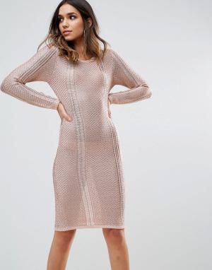 Wow Couture Ажурное платье миди. Цвет: золотой