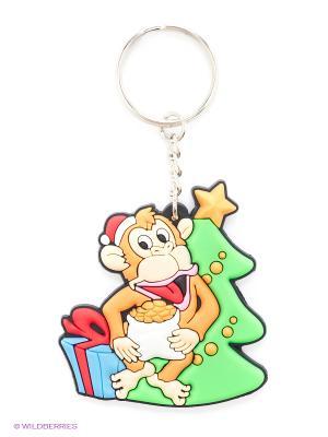 Сув.Новогодняя обезьянка, PVC брелок, 5см Пуффи. Цвет: зеленый