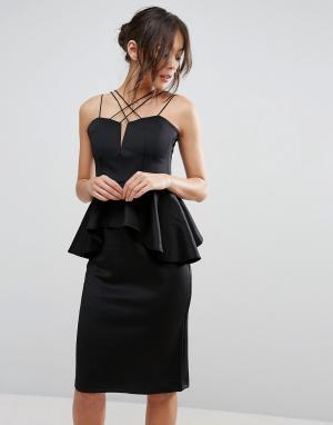 Rare Платье миди с баской и множеством бретелек. Цвет: черный