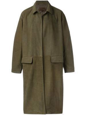 Кожаное пальто средней длины Yeezy. Цвет: зелёный