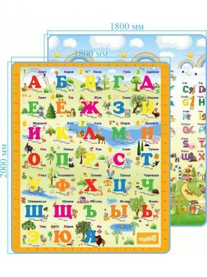 Коврик Русский/Английский алфавит двусторонний 200х180х0,5 Mambobaby. Цвет: голубой, оранжевый