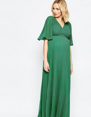 ASOS Maternity Плиссированное платье макси с глубоким вырезом для беременных Mat. Цвет: зеленый