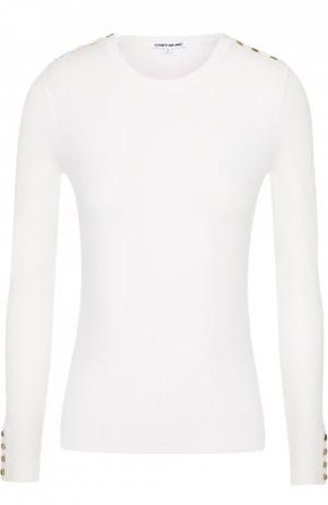 Шерстяной пуловер с круглым вырезом и декоративной отделкой Elizabeth and James. Цвет: бежевый