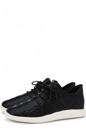 Текстильные кроссовки Ross на шнуровке Giuseppe Zanotti Design. Цвет: черный