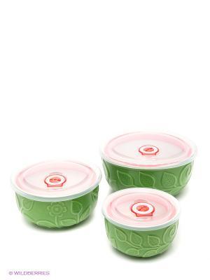 Набор контейнеров, 3 шт Bekker. Цвет: зеленый