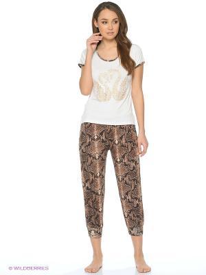 Пижама NICOLETTA. Цвет: коричневый, белый