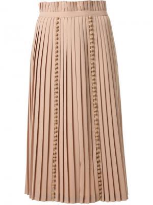 Плиссированная юбка Taro Horiuchi. Цвет: телесный