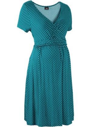 Мода для беременных и кормящих мам: трикотажное платье-стретч с коротким рукавом (сине-зеленый/пастельная аква в горошек) bonprix. Цвет: сине-зеленый/пастельная аква в горошек