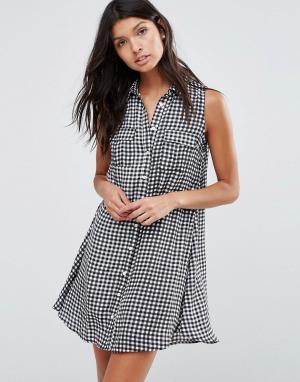Pixie & Diamond Платье-рубашка с принтом в клетку. Цвет: черный