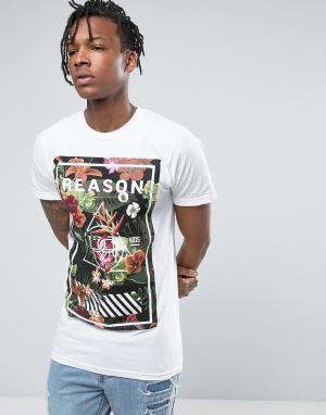 Reason Белая футболка с цветочным принтом и логотипом. Цвет: белый