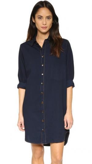 Платье-рубашка на пуговицах Basic Terrain. Цвет: темный индиго