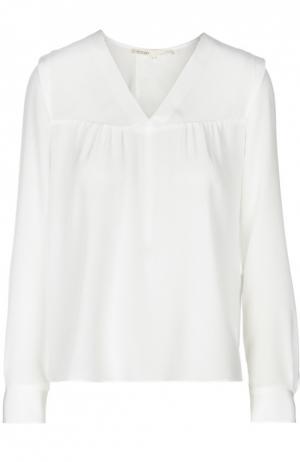 Прямая шелковая блуза с V-образным воротником Maje. Цвет: бежевый