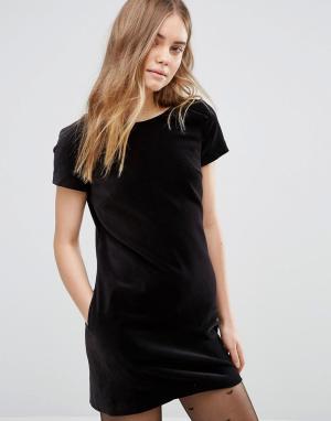 Jack Wills Рождественское бархатное цельнокройное платье. Цвет: черный