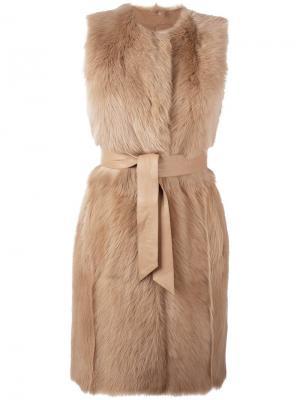 Пальто с поясом без рукавов Drome. Цвет: телесный