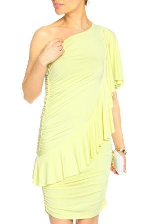 Прилегающее платье на одно плечо Vika Smolyanitskaya. Цвет: лимонный