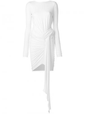 Трикотажное платье мини с драпировкой Alexandre Vauthier. Цвет: белый