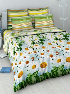 Комплект постельного белья Василиса. Цвет: зеленый, желтый, белый