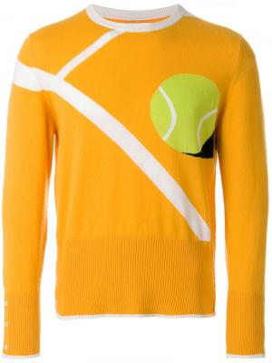 Classic Crewneck Pullover With Tennis Ball Intarsia In Cashmere Thom Browne. Цвет: жёлтый и оранжевый